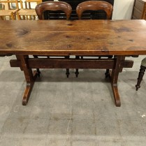 "**ITEM NOW SOLD** Vintage 2-plank pine dining table. Warm patina from use. Purchased in New England 40+ years ago. 71.75""l x 32""w x 29.25""h. 950.-"