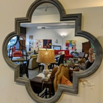 "**ITEM NOW SOLD** Quatrefoil mirror with 'cement' faux finish frame. 44"" x 44"". 250.-"