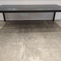 """**ITEM NOW SOLD** Room & Board Parsons dining table; matte grey glass on steel frame, 92"""" x 42"""" x 28.75""""h. Current List: $1,949. + 99. delivery. Modele's Price: 1100.-"""