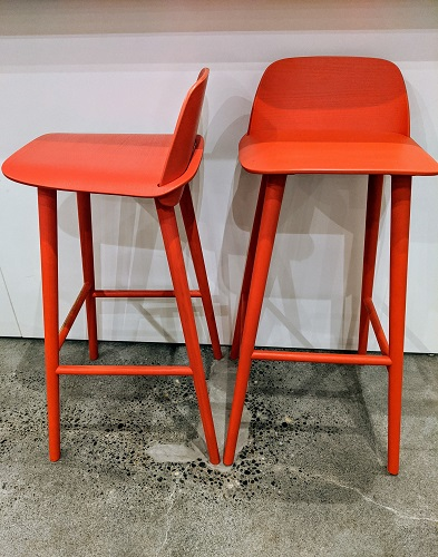 """Pair Muuto 'Nerd' bar-height stools. Purchased from DWR 3 years ago, discontinued color. Seat height: 29"""". Current List: $1090. + freight. Modele's Price: 450. pair"""