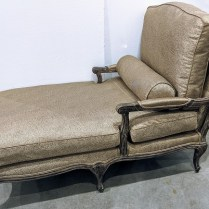 "Chaise lounge with new Ferguson-Copeland fabric (upholstery alone was $900.). 59""l x28""w x 41""h. 750.-"