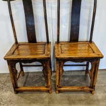 "Pair antique Chinese yoke-back chairs. Lovely patina and soulful. Great with a stack of books and use one as a table! 22""w x 16.5""d x 44.5""h 750.- pair"