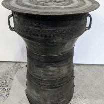 """Vintage rain drum / side table. 13"""" dia. x 18""""h. 395.-"""
