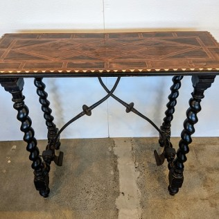 """Vintage Spanish Colonial style console with beautiful inlaid top. 44""""w x 16.5""""d x 35.75""""h. 1195.-"""
