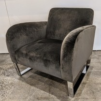 "Donghia Focal chair in velvet. Showroom sample, never used in a home. 31.75""w x 31""d x 29.75""h. Orig. List: approx. $7,000. + fabric Modele's price: 2950.-"