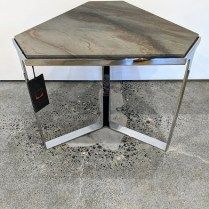 """Donghia 'Forma' drink table with stone top and chromed steel base. Showroom sample, never used in a home. 19.5"""" x 22.5""""x 17.25""""h. Orig. List: $3,500. Modele's Price: 795.-"""