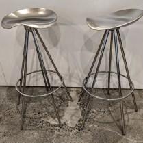 "Pair Knoll 'Jamaica' bar height stools. Aluminum seat on chrome base. Swivel seat. 20"" dia. at base x 32""h 495.- pair"
