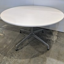 """Herman Miller Eames dining table with 'universal base'. 48"""" dia. x 28.5""""h. Current List: $1,395. Modele's Price: 495.-"""