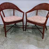 """McGuire 'Caned Arc' dining armchairs with red stain and custom seat cushions. Discontinued style. 23""""w x 25""""d x 33.5""""h. 6 chairs available. Sold in pairs. 450.- per pair"""
