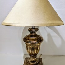"""Nancy Corzine #120 Venetian Urn table lamp, 20 years old. Venetian sterling silver finish, double socket w/pull chains and inline switch. 20.25""""dia. x 26.5""""h. Current list: approx. $2,000. Modele's Price: 350.-"""