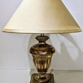 """Nancy Corzine #120 Venetian Urn table lamp, 20 years old. Venetian sterling silver finish, double socket w/pull chains and inline switch. 20.25""""dia. x 26.5""""h. Current list: approx. $2,000. Modele's Price: 395.-"""