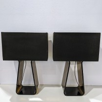 """**ITEM NOW SOLD** Pair Pablo 'Tube Top' lamps in Medium size. Dimmer switches, 21""""h. Current list: 295. each. Modele's Price: 325.- pair"""