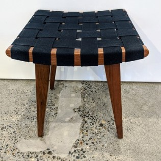 "Knoll Risom stool, desgined by Jens Risom for Knoll in 1943. Walnut frame, black webbing. 16""w x 15.5""d x 17.5""h. Current List: $500. Modele's Price: 260.-"