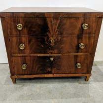 "**ITEM NOW SOLD** Vintage 3-drawer chest. Burled veneers, key-holes, locks. Age not known. 39""w x 20.75""d x 33""h. 895.-"