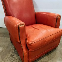"**ITEM NOW SOLD** Whittemore-Sherrill leather club chair. Discontinued style. Nailhead trim. 36.5""w x 39.5""d x 37.25""h. 395.-"