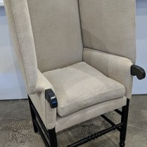"John Derian 'Mantis' chair, made by Cisco Bros. 3 years, old, Belgian linen upholstery. 30""w x 28"" d x 51.5""h. Current list: $2,925. Modele's Price: 1395.-"