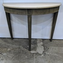 """**ITEM NOW SOLD** Wisteria demi-lune table. Painted finish; dark on base, lighter on top. 42.25""""w x 18.75""""d x 32.5""""h. 195.-"""