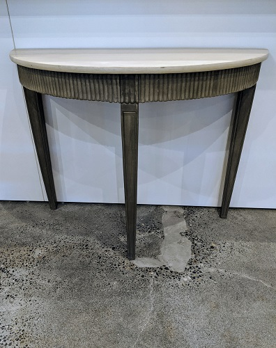 """Wisteria demi-lune table. Painted finish; dark on base, lighter on top. 42.25""""w x 18.75""""d x 32.5""""h. 195.-"""