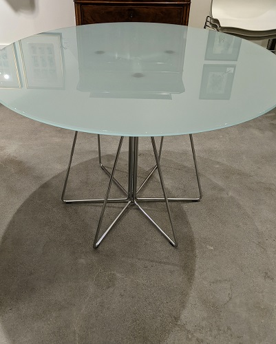 """Knoll medium 'Paperclip' table, purchased in 2008-09. 42"""" dia. x 28.5""""h. Current list: $3,012. Modele's Price: 950.-"""