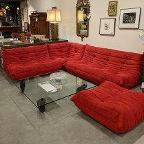 "**ITEM NOW SOLD** ]Ligne Roset iconic 'Togo' sectional: 4 pieces, durable Alcantara microfiber in red. Six years old. 90"" x 108"". Current List: $17,900. Modele's Price: 8500.-"