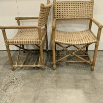 "**ITEM NOW SOLD** Pair vintage McGuire laced rawhide armchairs. Discontinued style. 22.75""w x 23.5""d x 34.25""h. 1500.- pair"