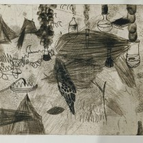 "Christi Birchfield original etching, unframed. 13.5""w x 13""h. 175.-"