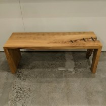 "**ITEM NOW SOLD** Hand-crafted live-edge waterfall bench in maple and blackened steel. Approx. 12 years old. 48""l x 16""w x 18.5""h. 750.-"