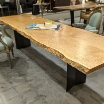 """**ITEM NOW SOLD** Meyer Wells figured maple live-edge table with steel trestle base. 5-6 years old. 10'l x 35.5""""w x 29.5""""h. Orig. list: $7000.-8000. Modele's Price: 3250.-"""