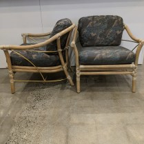 "Pair vintage McGuire lounge chairs with gold-leafed metal structure rods. c. 1990's. 29""w x 32""d x 29.5"" 1500. pair"
