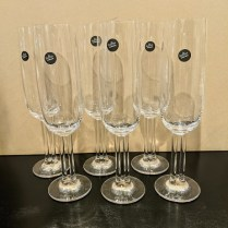 "**ITEM NOW SOLD** Set/6 Rosenthal Cupola' champagne flutes, 8.5""h. Never used, includes original boxes. Orig. List: over $500. Modele's Price: 195. set"