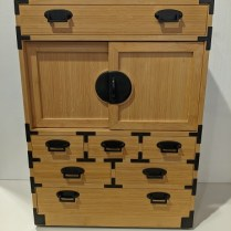 """**ITEM NOW SOLD** Evert Sodergren small tansu in bamboo. Built in 2005. 18""""w x 10.5""""d x 24.5""""h. Orig. list: $4,000. Modele's Price: 1750."""