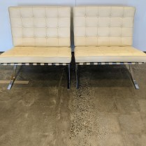 "**ITEM NOW SOLD** Pair Knoll 'Barcelona', purchased in 2009, very light use. Desgined by Mies Van der Rohe in 1929. 31""w x 30""d x 30.25""h. Current list: $11,014. pair. Modele's price: 5500. pair"