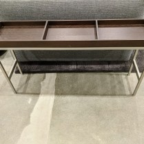 """Ligne Roset side table, purchased in 2004-05. Espresso finish on aluminum base. 38.25""""w x 9""""d x 20.75""""h. 225. each (two available)"""