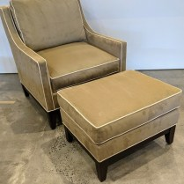 "**ITEM NOW SOLD** Pearson 'Claudia' lounge chair with ottoman. 10 years old, extremely light use. chair: 32""w x 38""d x 38""h. Orig, list: $3,370. Modele's Price: 1395.-"