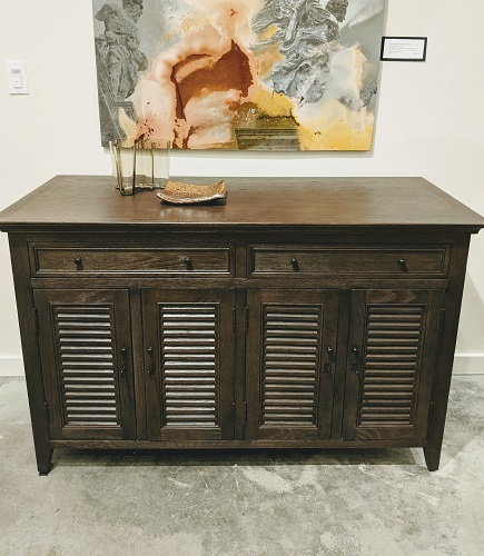 """Restoration Hardware 'Shutter' sideboard. Less than 1 year old, discontinued style. Locking doors, keys included. 54""""w x 23.5""""d x 34""""h. 650."""