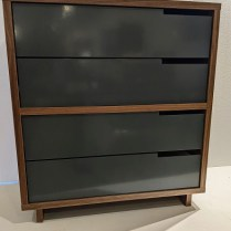 """**ITEM NOW SOLD** BluDot 'Modu-Licious #4' dresser. Walnut case with powder-coated drawer fronts. 31.5""""w x 18.25""""d x 34.5""""h. Current list: 1068.93 Modele's Price: 550."""
