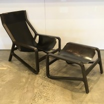 BluDot 'Toro' lounge chair with footstool. Beech bentwood frame with black stain and black leather slings. 7 years old. Current list: $2,245. Modele's Price: 950.