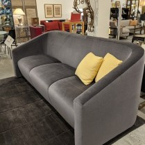 """**ITEM NOW SOLD** Custom mohair sofa from the Hayden Collective. Two years old. 97""""l x 40""""d x 37.5""""h. Orig. list: $10,000. Modele's Price: 2250."""