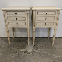 """Pair Eloquence nightstands, purchased 5 year ago. Discontinued style. 17""""w x 13""""d x 28.5""""h. Orig. list: over $2,000. Modele's price: 895. pair"""