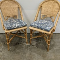 """**ITEM NOW SOLD** Set/4 Serna & Lily 'Riviera' side dining chairs with custom seat cushions (Ralph Lauren Antibes Batik fabric), 4 years old. 17.5""""w x 22.25""""d x 35""""h. Orig. list: $2,355 Modele's price: 895. set"""