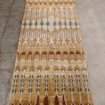 """Hand-knotted Tibetan runner, recently cleaned by D.A. Burns. 33.5""""w x 92.5""""l. Orig. $1,900. Modele's Price: 850."""