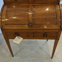 """Antique French writing desk with roll-top, walnut, c. 1800. Purchased from S. Arbes & Co. in San Francisco antique shop in 1979. Chair included. 35.5""""w x 22""""d x 45.5""""h. 1100. set"""