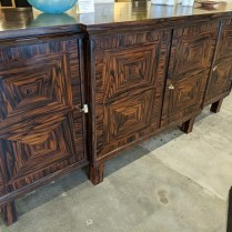 """Custom made sideboard, c. 1920's. Zebrawood veneer with birch interiors. Modular construction for ease of transport. 99""""l x 28.75""""d x 43""""h. 2500."""