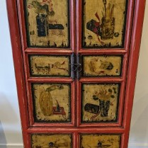 """Painted vintage Tibetan cabinet. Purchased in 2003 in Eindhoven, The Netherlands. 28.75""""w x 17.75""""d x 61""""h. Two available, not identical, but very similar. 595. each"""