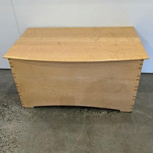 """Edward Wohl handcrafted chest in bird's eye maple with cedar-lined interior. 10-12 years old, very light use. 35""""w x 21.75""""d x 18.25""""h. Current list: $3,200. plus shipping from Wisconsin. Modele's price: 1495."""