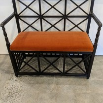 """Michael S. Smith for Jasper Furniture X-back bench, approx. 11 yrs. old. Black stained mahogany frame, with Rogers & Goffigan mohair seat. 43""""w x 20""""d x 40.5""""h. Current list: $5,000. Modele's price: 1695."""