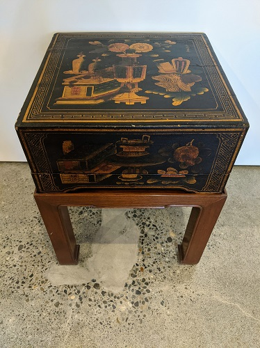 """Vintage box-on-stand. Asian lidded box with painted exterior on solid wood base stand. 16"""" sq. x 20""""h. 275."""