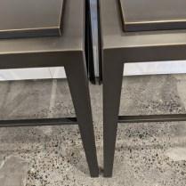 Detail of US Starcraft custom steel side tables.
