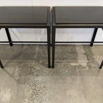 "Pair US Starcraft custom steel side tables, approx. 10 years old. 27"" x 20"" x 27.25""h. Orig. $4,000. pair. Modele's price: 1850. pair"