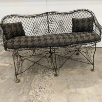 """Vintage wire settee for indoor/outdoor use. Seat cushion and pillows in Sunbrella indoor/outdoor fabric. 60.5""""w x 28""""d x 32.75""""h. 895."""